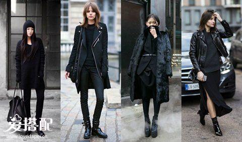 冬季All-Black穿搭攻略,全黑色也很时尚